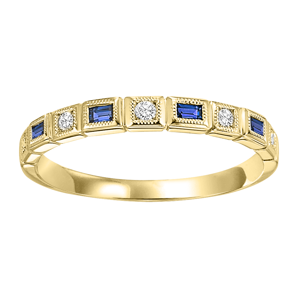 10K Yellow Gold Stackable Bezel Sapphire Band (1/15 Ct. Tw.)