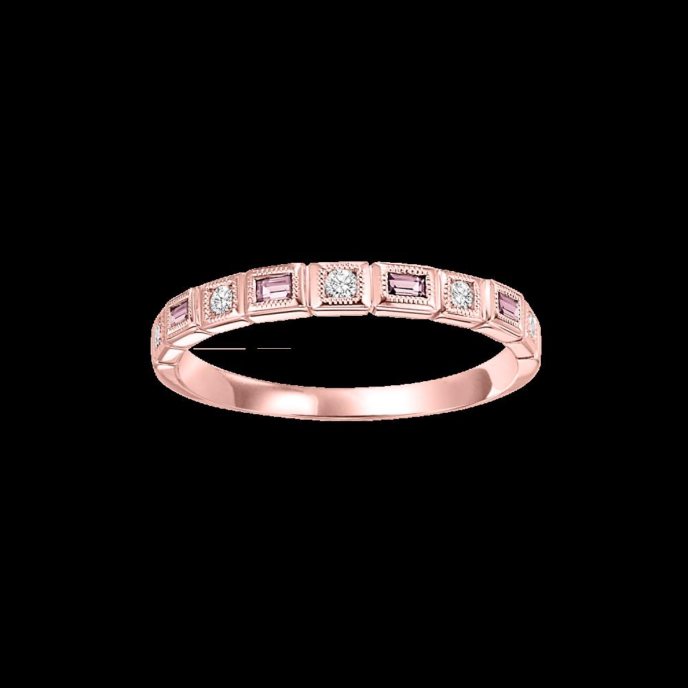 10K Rose Gold Stackable Bezel Pink Tourmaline Band (1/10 Ct. Tw.)