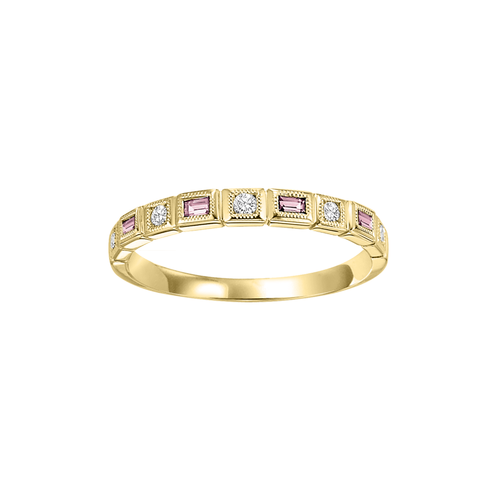 10K Yellow Gold Stackable Bezel Pink Tourmaline Band (1/10 Ct. Tw.)