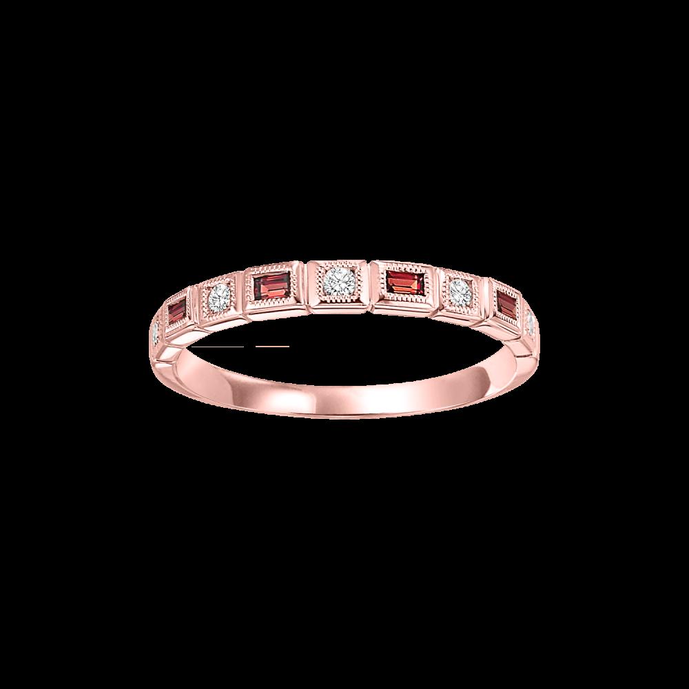 10K Rose Gold Stackable Bezel Garnet Band