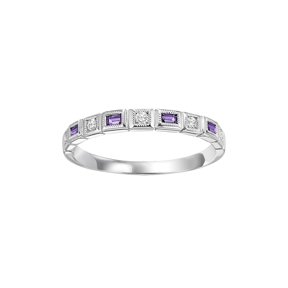10K White Gold Stackable Bezel Amethyst Band (1/10 Ct. Tw.)