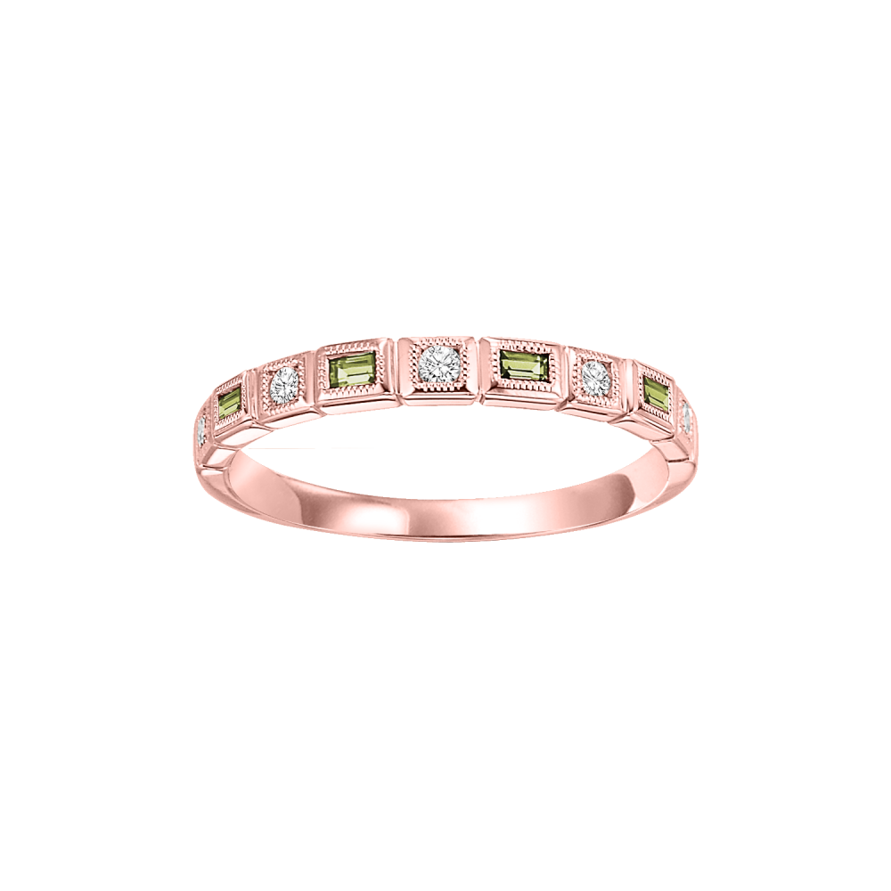10K Rose Gold Stackable Bezel Peridot Band (1/10 Ct. Tw.)