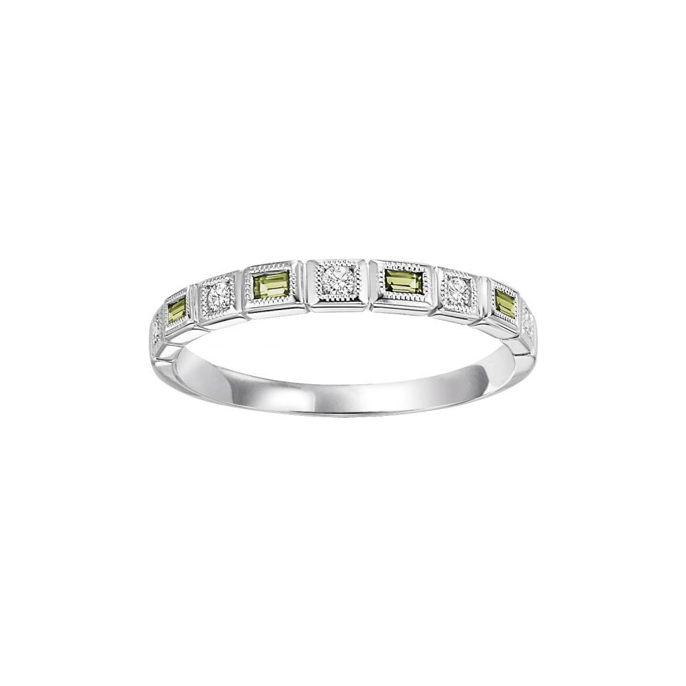 10K White Gold Stackable Bezel Peridot Band (1/10 Ct. Tw.)
