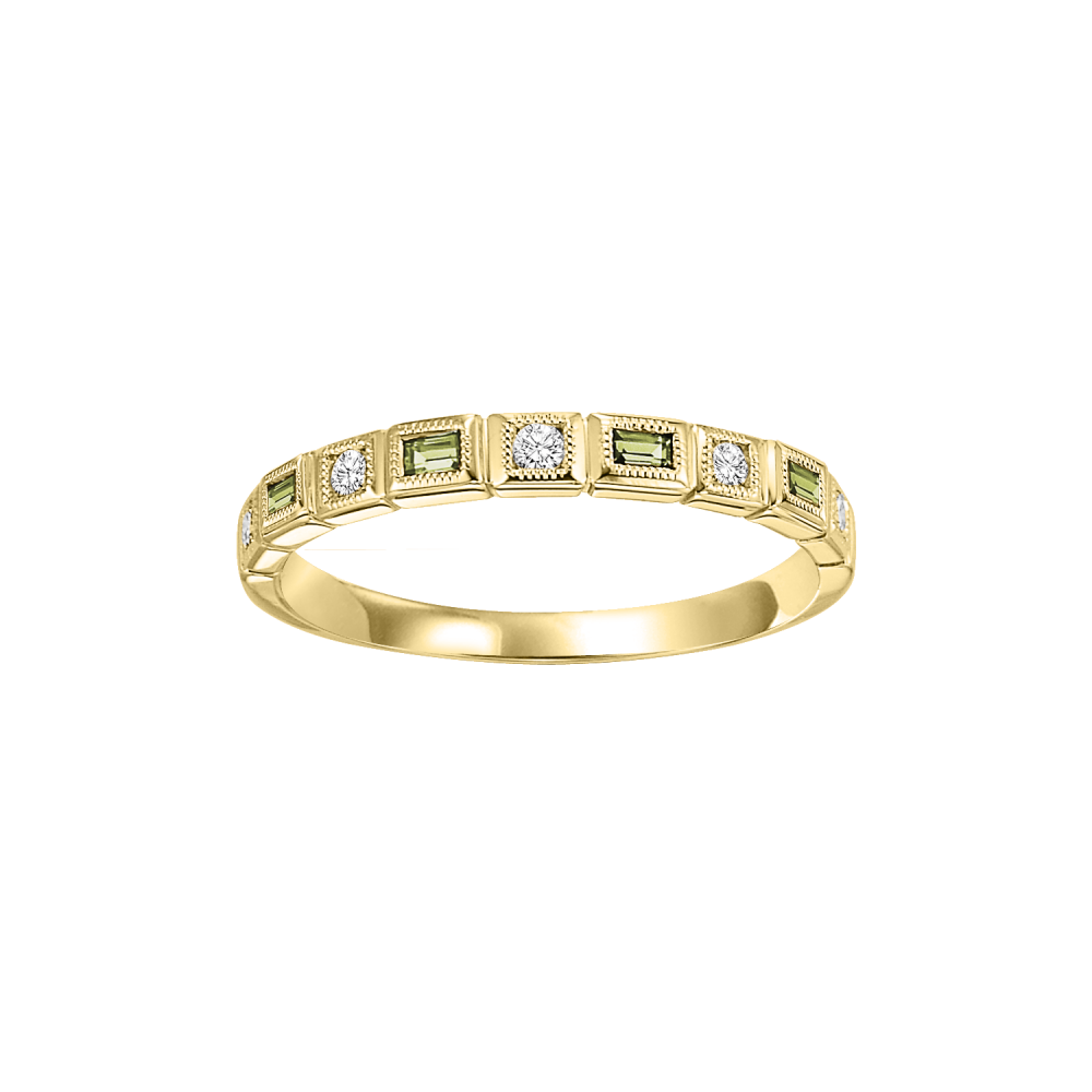 10K Yellow Gold Stackable Bezel Peridot Band (1/10 Ct. Tw.)