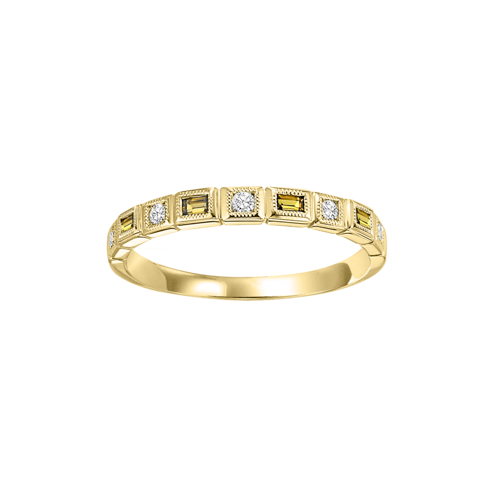 10K Yellow Gold Stackable Bezel Citrine Band (1/12 Ct. Tw.)