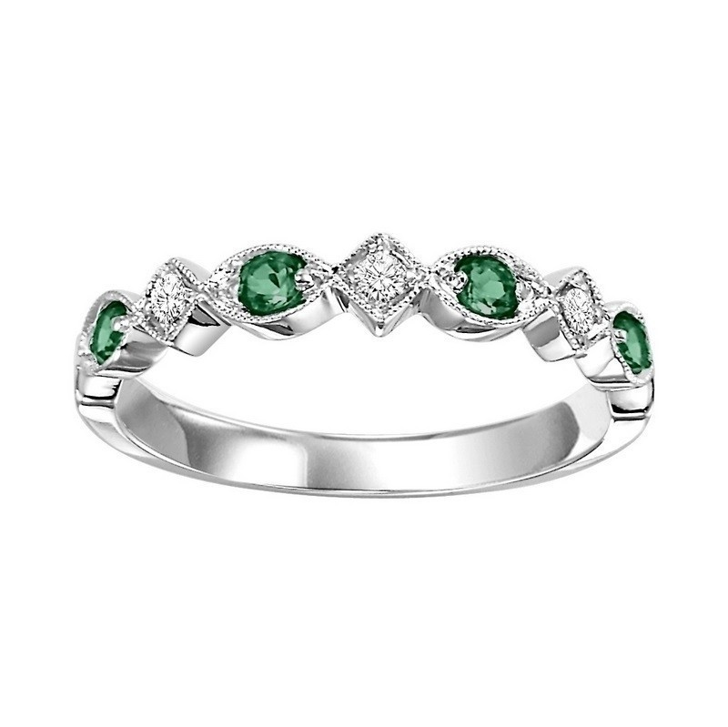 Stackable Prong Set Emerald Band In 10K White Gold (1/20 Ct. Tw.)