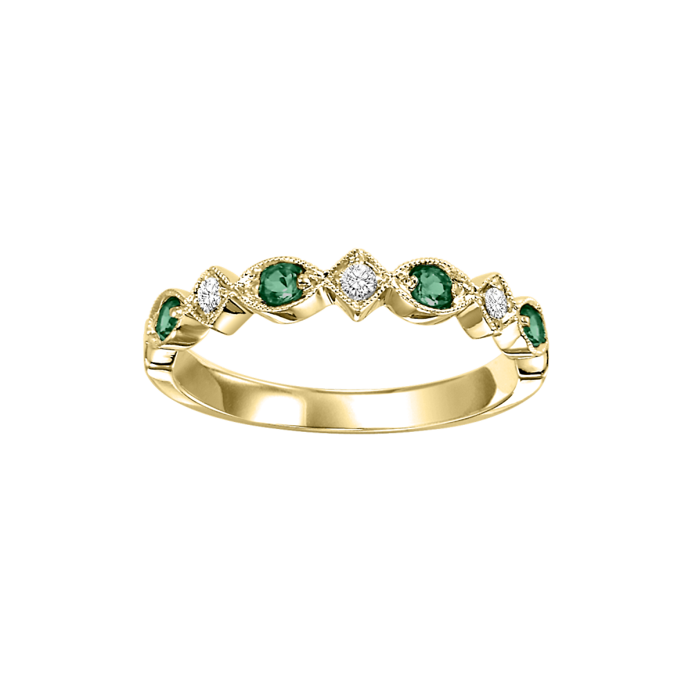 Stackable Prong Set Emerald Band In 10K Yellow Gold (1/20 Ct. Tw.)