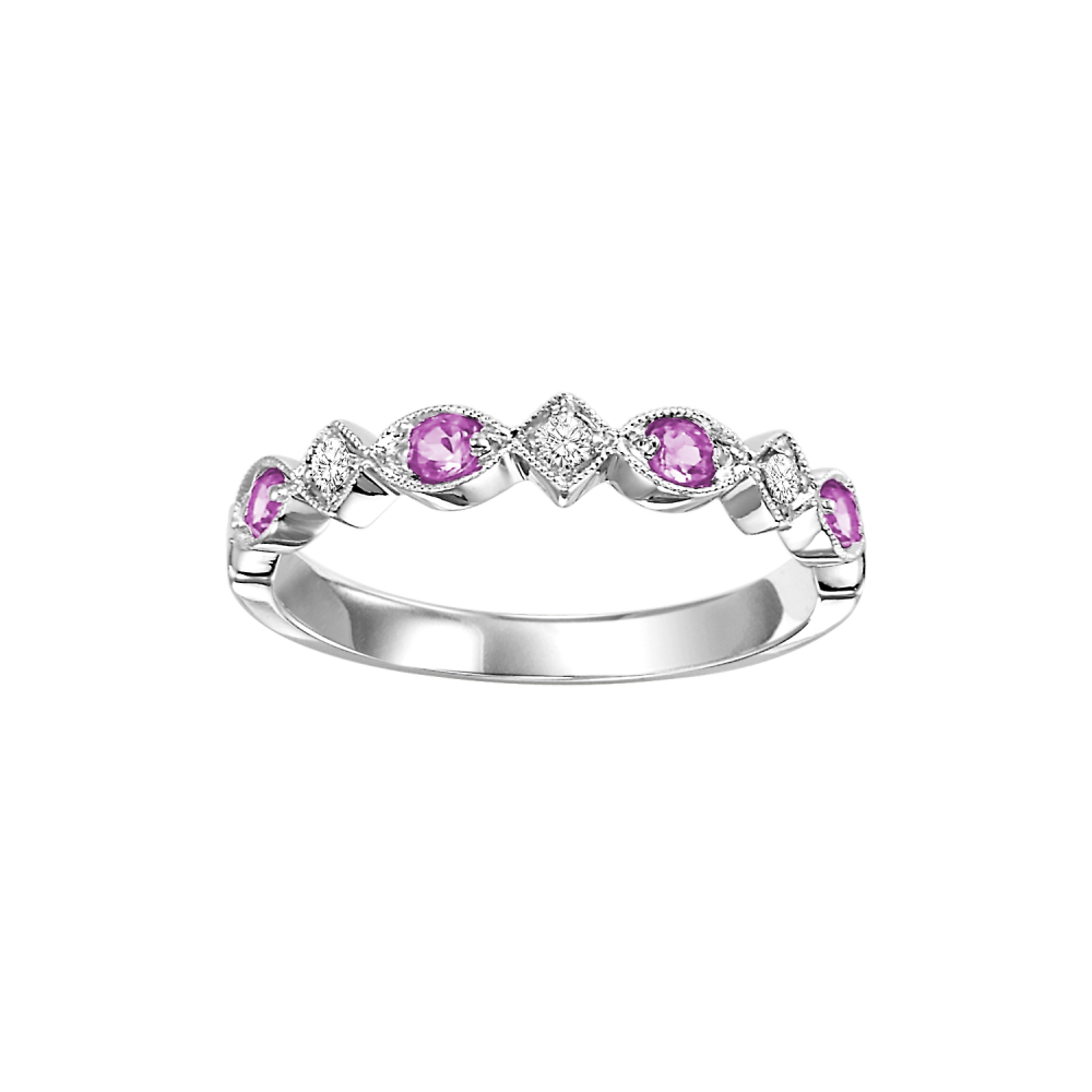 Stackable Pink Sapphire & Diamond Band 10K White Gold (1/20 Ct. Tw.)