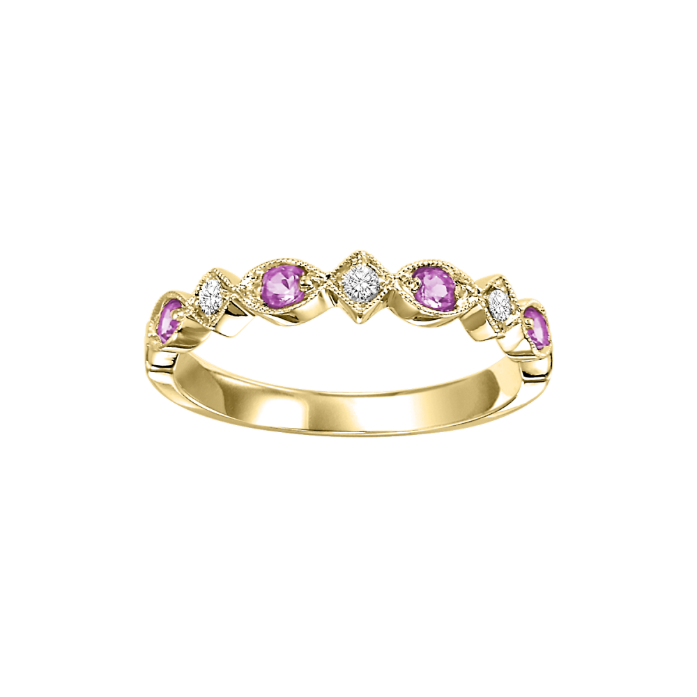 Stackable Pink Sapphire & Diamond Band 10K Yellow Gold (1/20 Ct. Tw.)