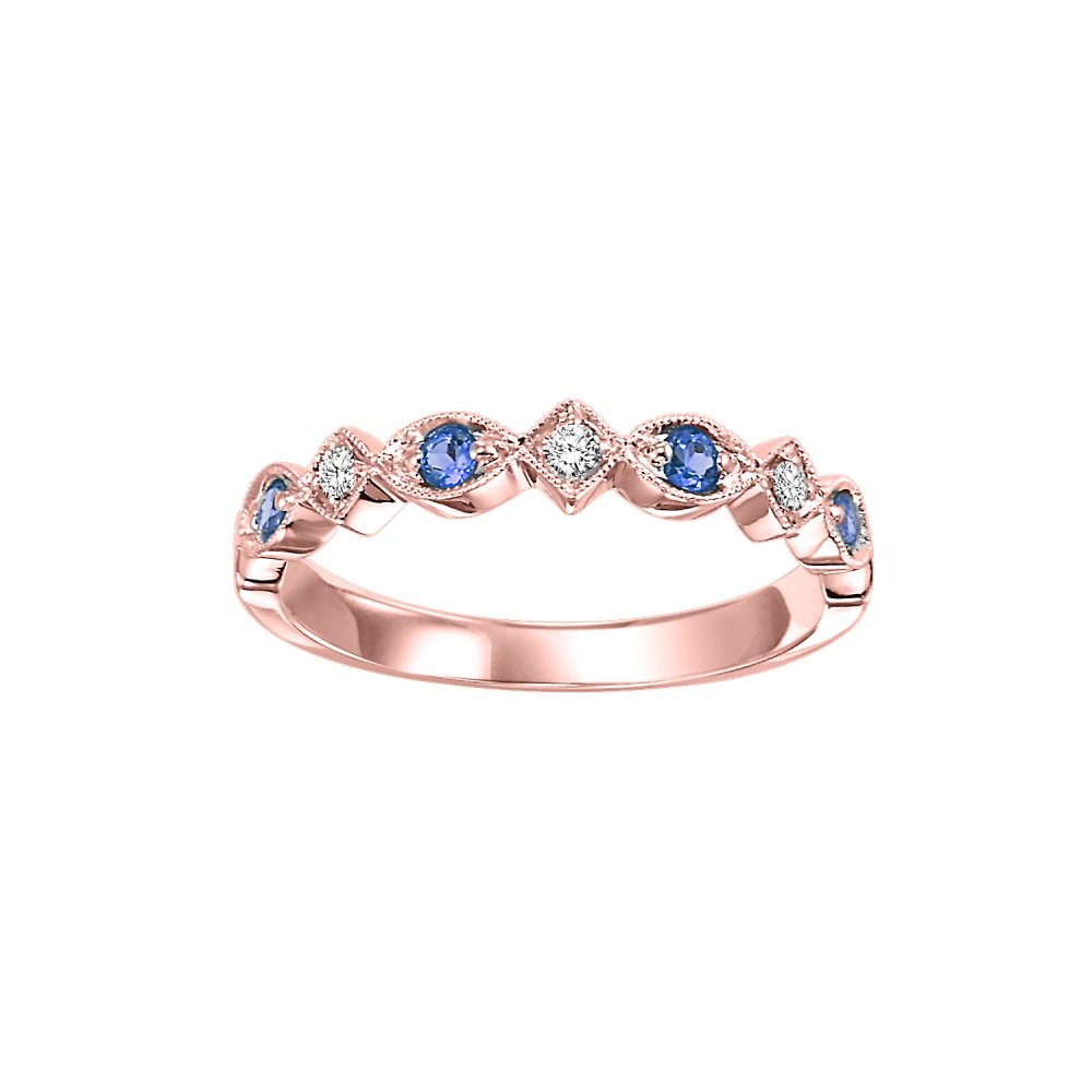 10K Rose Gold Stackable Prong Sapphire Band (1/20 Ct. Tw.)