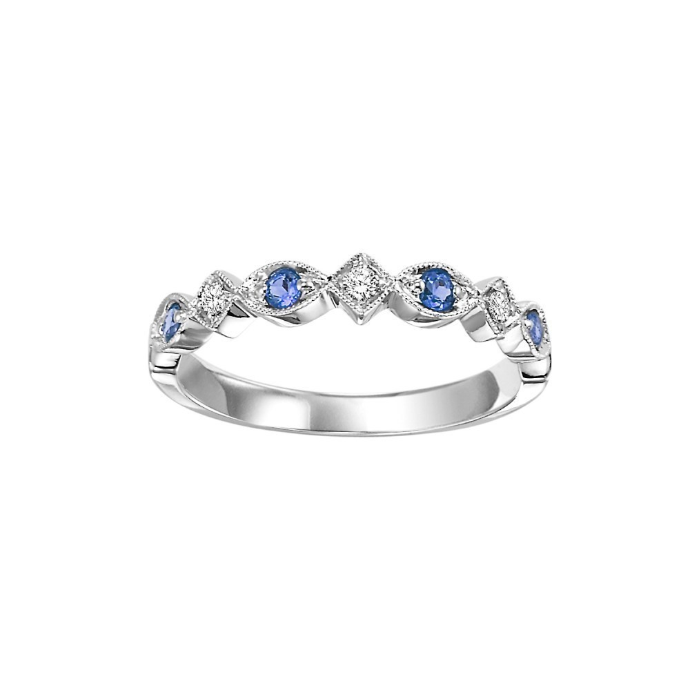 10K White Gold Stackable Prong Sapphire Band (1/20 Ct. Tw.)