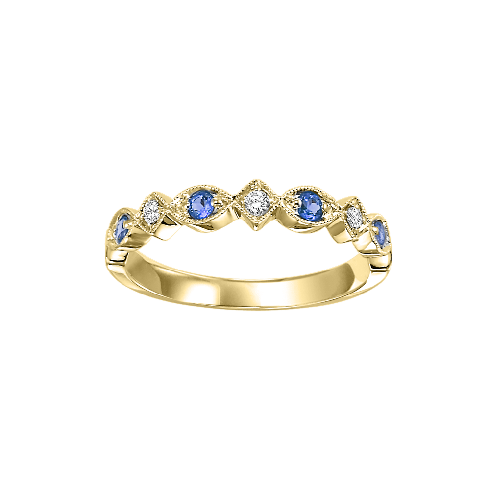 10K Yellow Gold Stackable Prong Sapphire Band (1/20 Ct. Tw.)