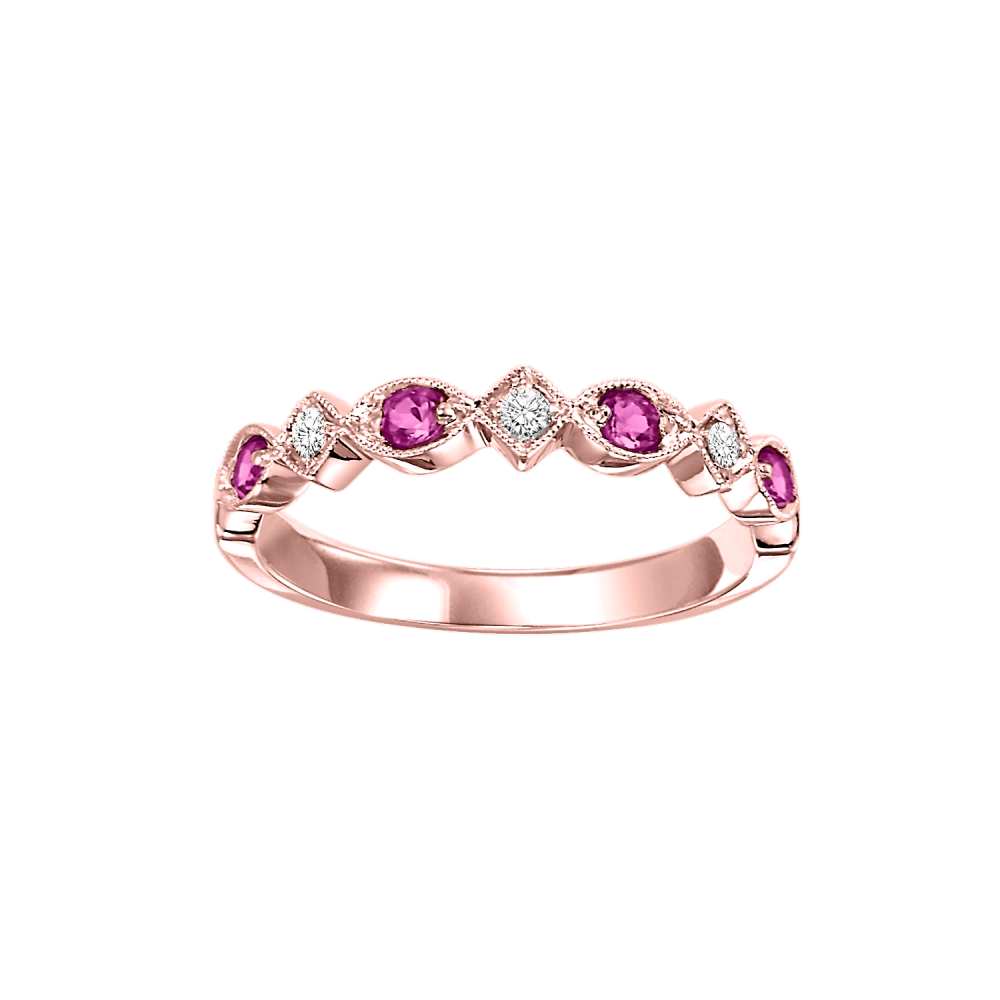 10K Rose Gold Stackable Prong Ruby Band (1/20 Ct. Tw.)