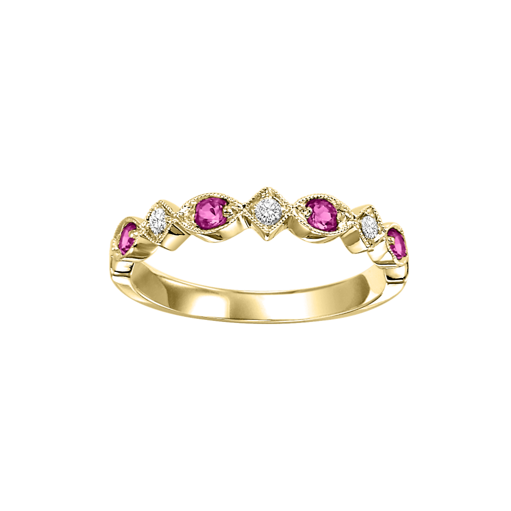 10K Yellow Gold Stackable Prong Ruby Band (1/20 Ct. Tw.)