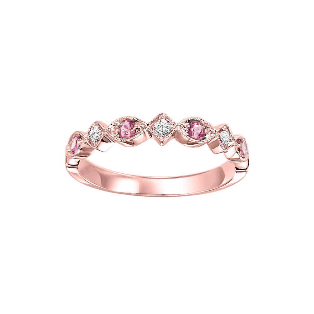 10K Rose Gold Stackable Prong Pink Tourmaline Band (1/20 Ct. Tw.)