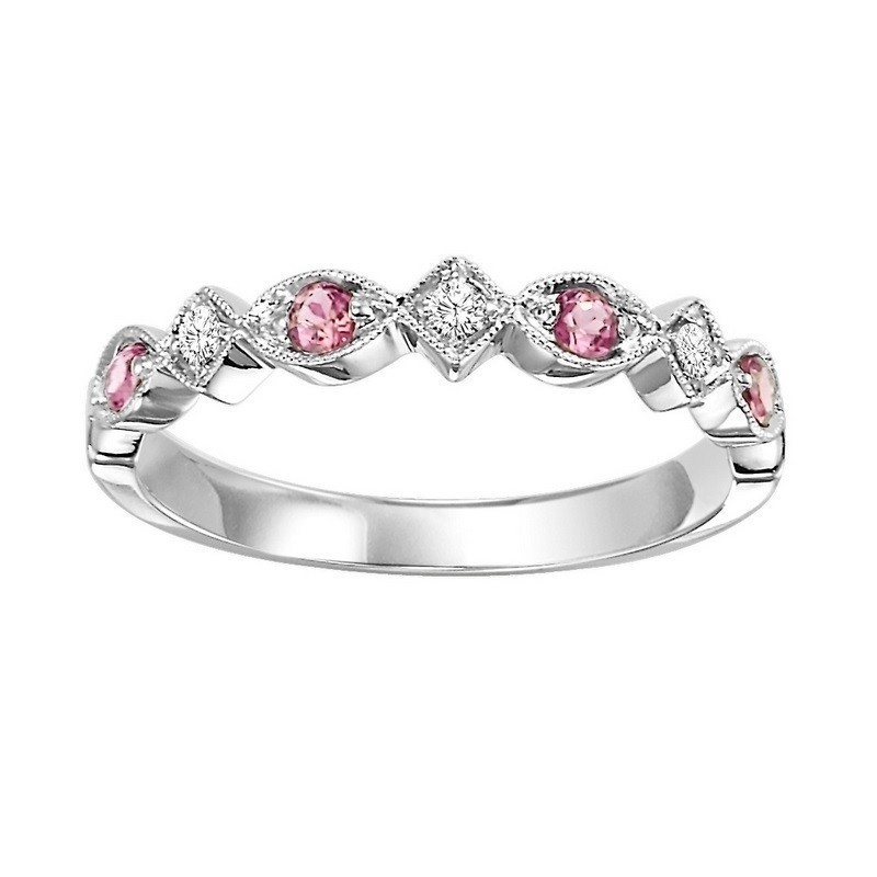 10K White Gold Stackable Prong Pink Tourmaline Band (1/20 Ct. Tw.)