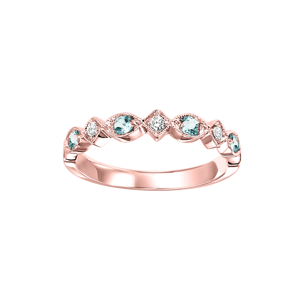 10K Rose Gold Stackable Prong Blue Topaz Band (1/20 Ct. Tw.)