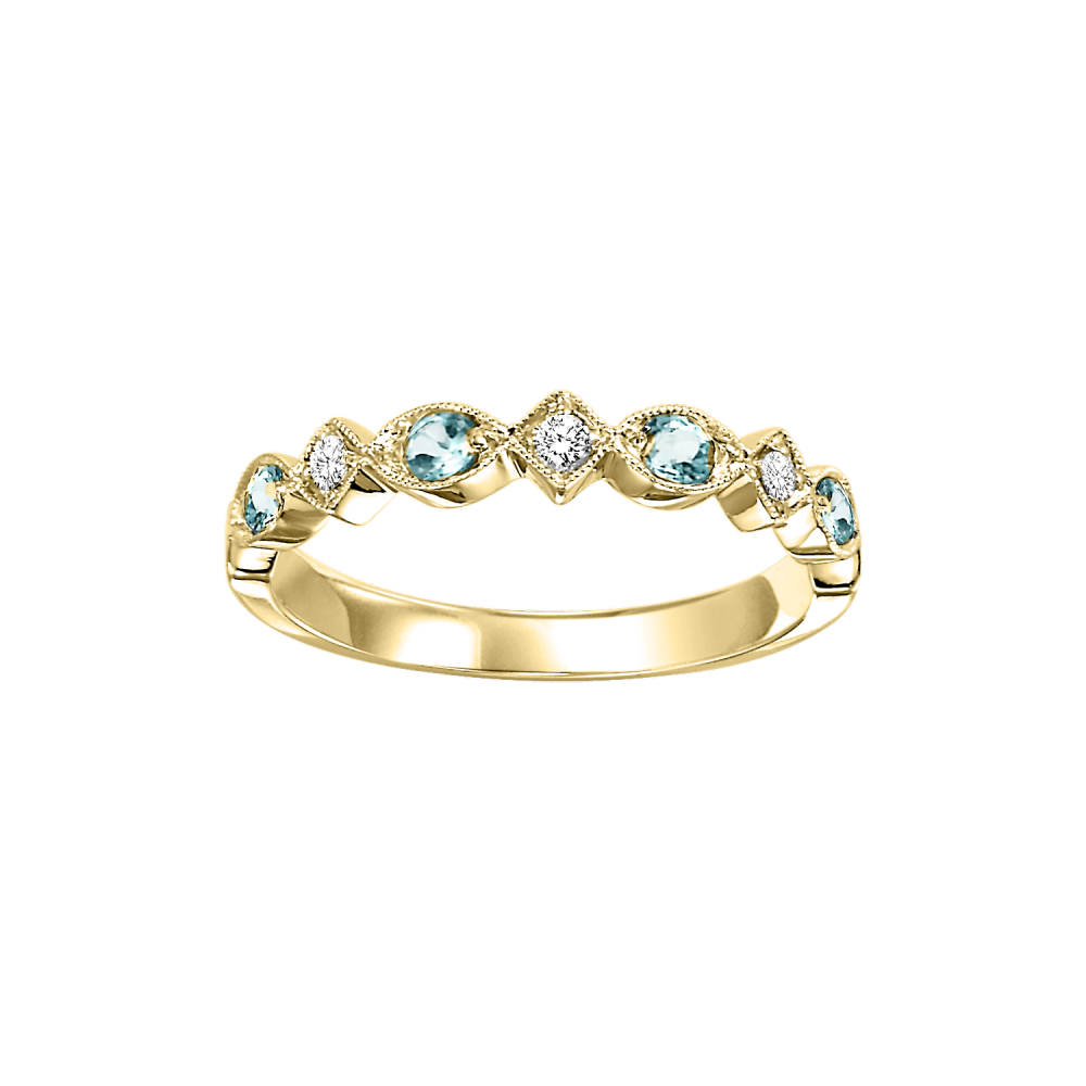 10K Yellow Gold Stackable Prong Blue Topaz Band (1/20 Ct. Tw.)