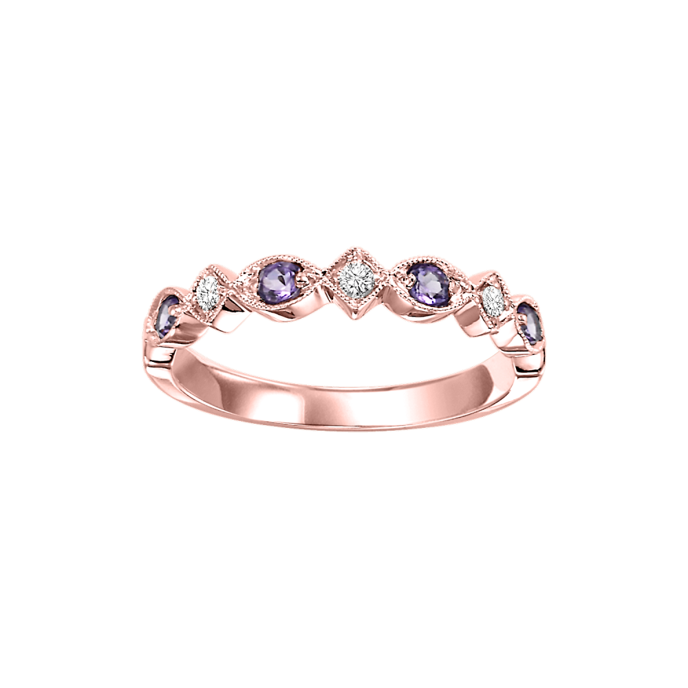 10K Rose Gold Stackable Prong Amethyst Band (1/20 Ct. Tw.)
