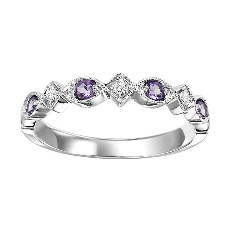 10K White Gold Stackable Prong Amethyst Band (1/20 Ct. Tw.)