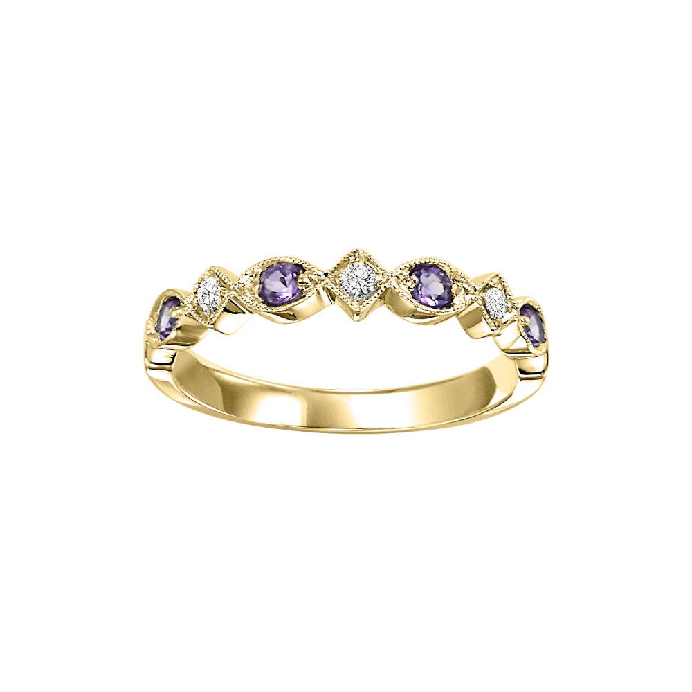 10K Yellow Gold Stackable Prong Amethyst Band (1/20 Ct. Tw.)