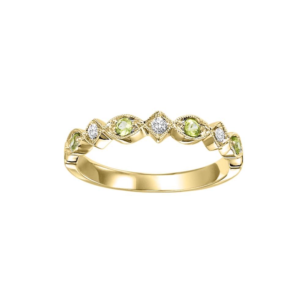 10K Yellow Gold Stackable Prong Peridot Band (1/20 Ct. Tw.)