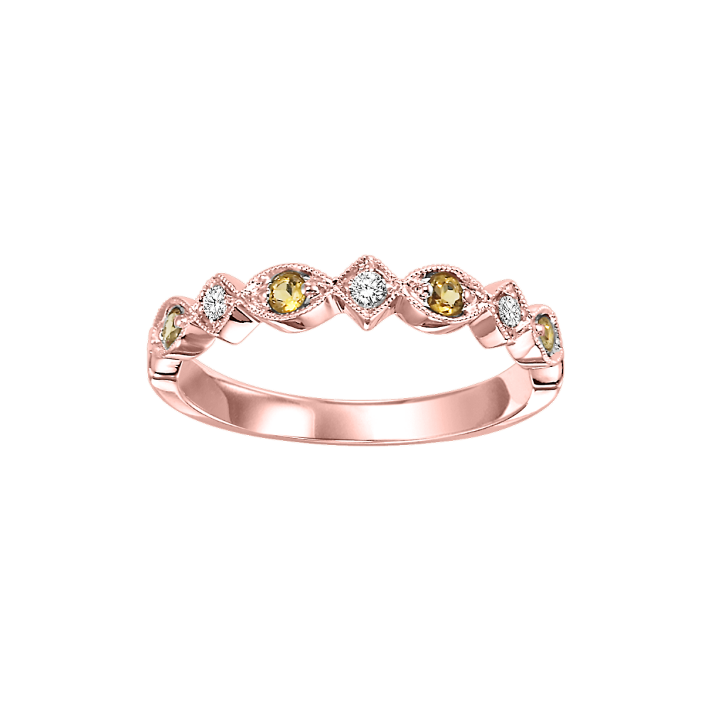 10K Rose Gold Stackable Prong Citrine Band (1/20 Ct. Tw.)