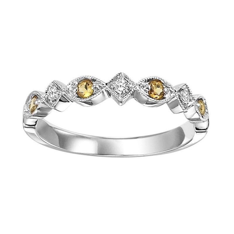 10K White Gold Stackable Prong Citrine Band (1/20 Ct. Tw.)