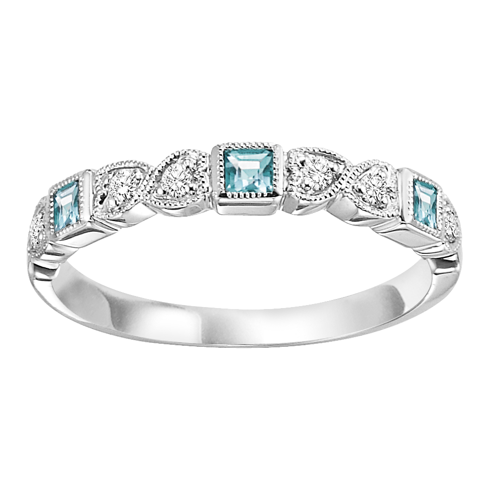 10K White Gold Stackable Prong Aquamarine Band (1/20 Ct. Tw.)