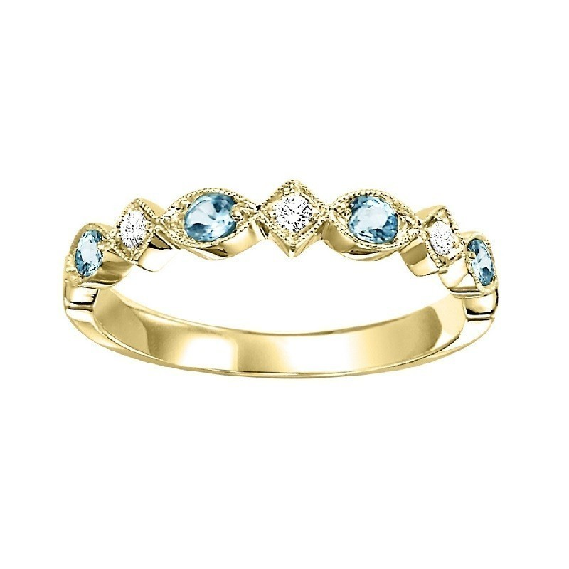 10K Yellow Gold Stackable Prong Aquamarine Band (1/20 Ct. Tw.)