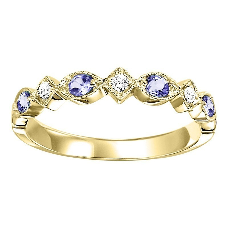 10K Yellow Gold Stackable Prong Alexandrite Band (1/20 Ct. Tw.)