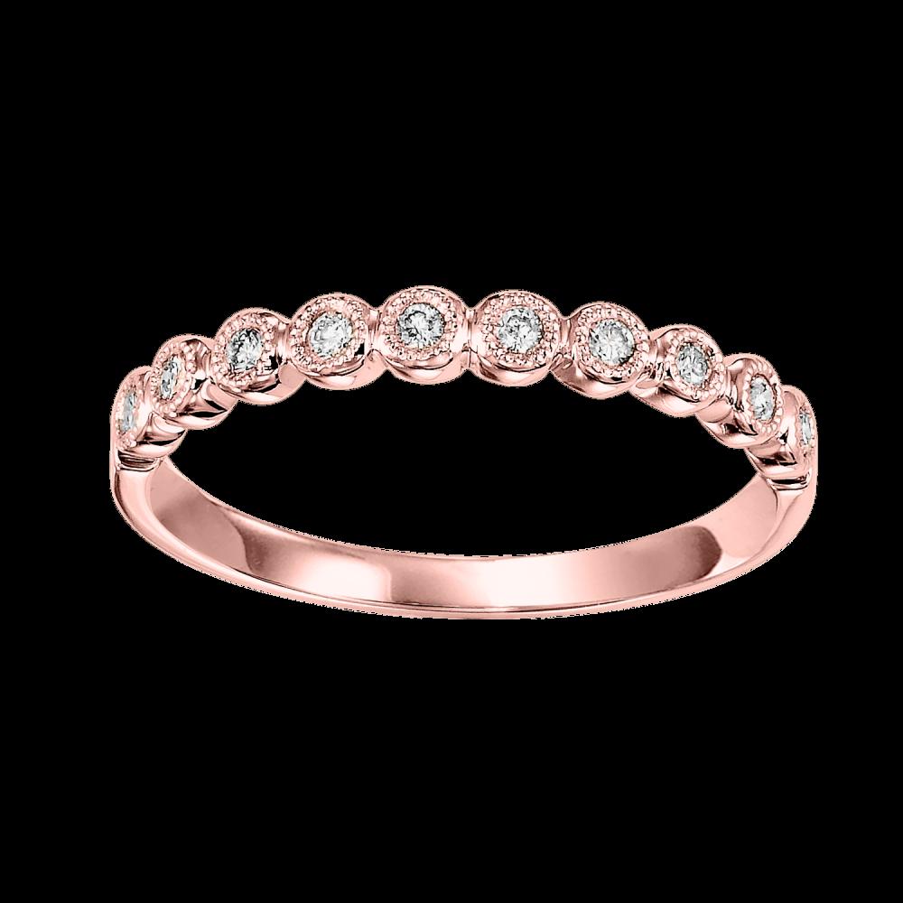 10K Rose Gold Stackable Bezel Diamond Band (1/10 Ct. Tw.)