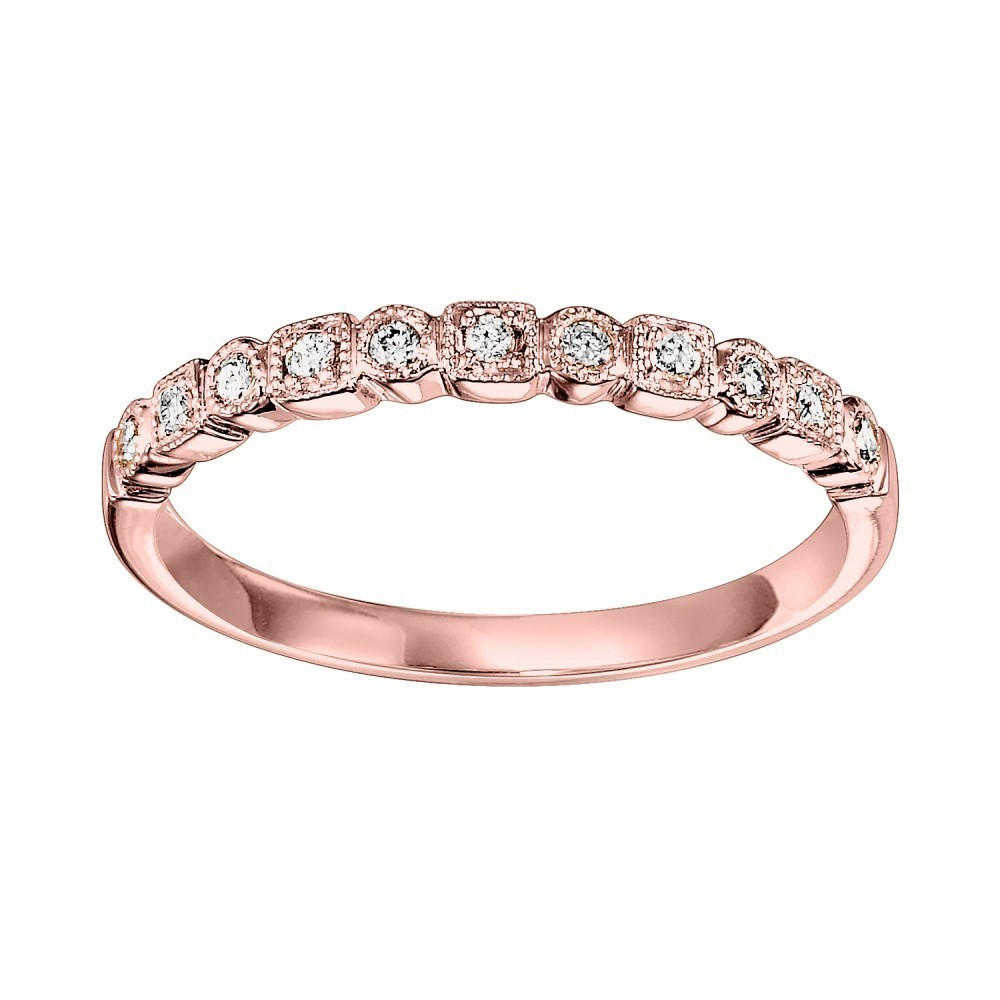 10K Rose Gold Stackable Prong Diamond Band (1/8 Ct. Tw.)