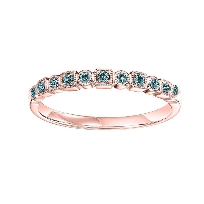 10K Rose Gold Stackable Prong Colored Diamond Band