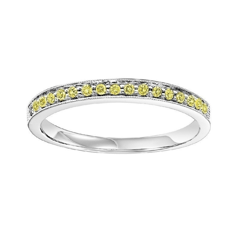 10K White Gold Stackable Prong Colored Diamond Band (1/8 Ct. Tw.)