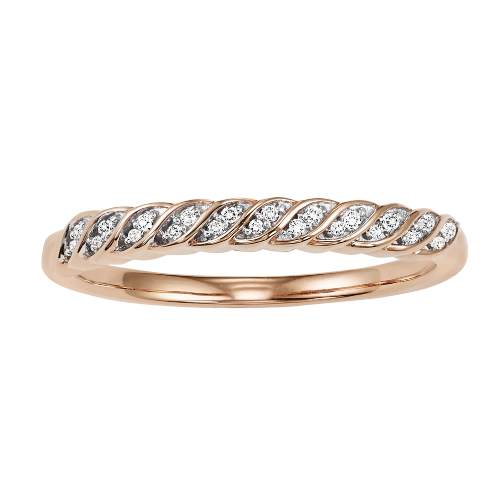 10K Rose Gold Stackable Prong Diamond Band (1/10 Ct. Tw.)
