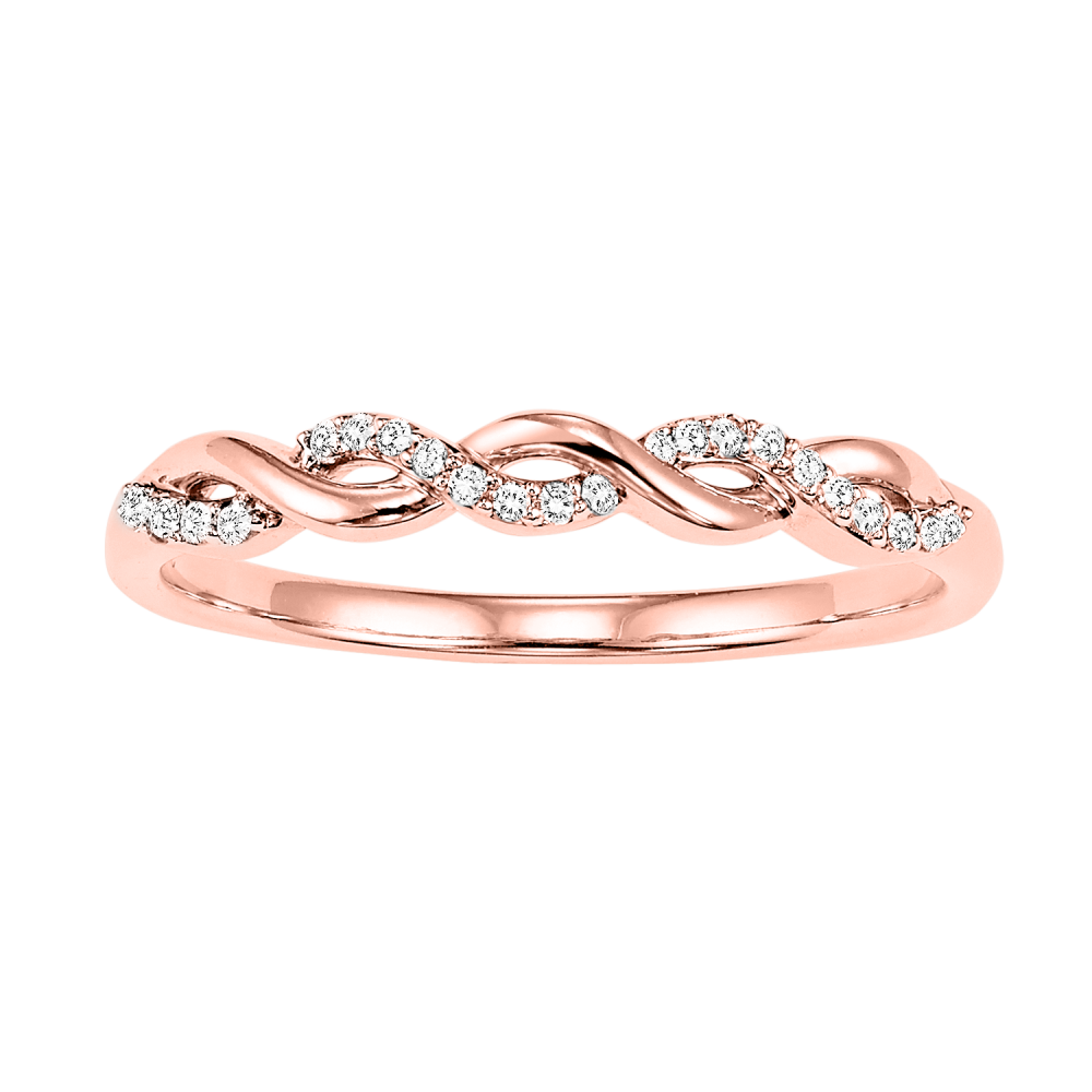 10K Rose Gold Stackable Prong Diamond Band (1/20 Ct. Tw.)