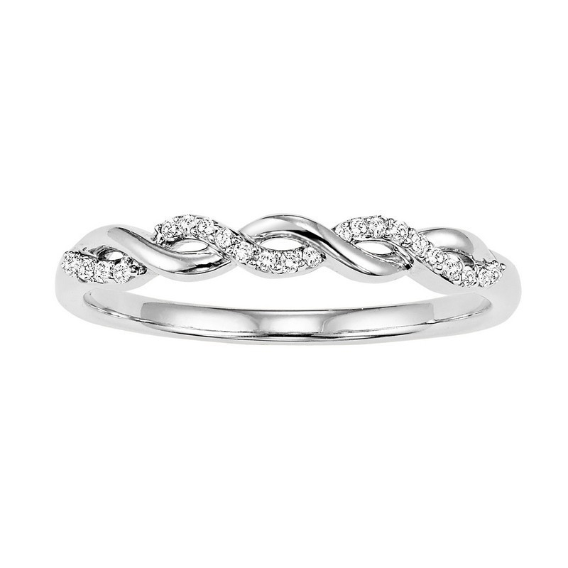 10K White Gold Stackable Prong Diamond Band (1/20 Ct. Tw.)