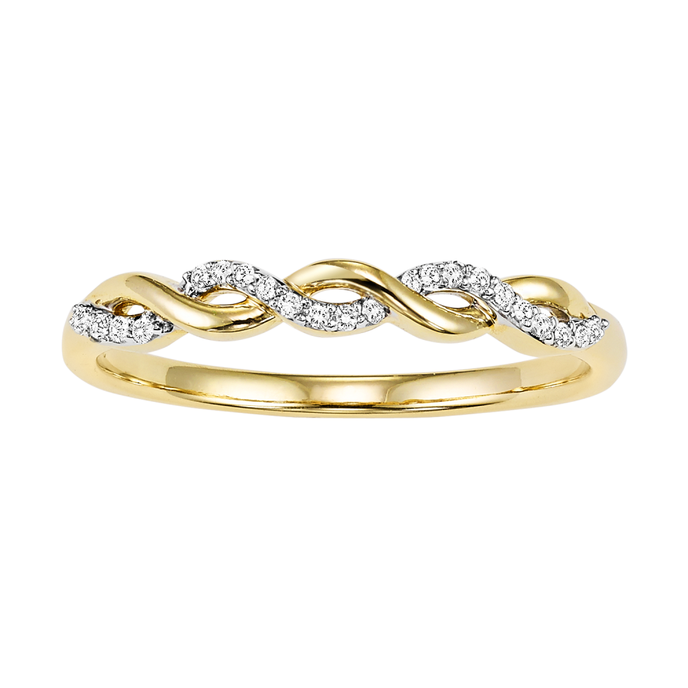 10K Yellow Gold Stackable Prong Diamond Band (1/20 Ct. Tw.)
