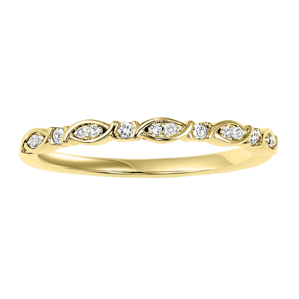 10K Yellow Gold Stackable Prong Diamond Band (1/12 Ct. Tw.)