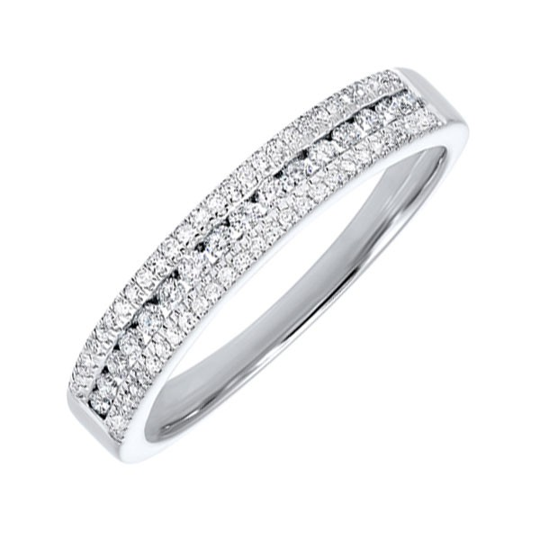 Triple Row Diamond Stackable Band In 14k White Gold (1/4ctw)