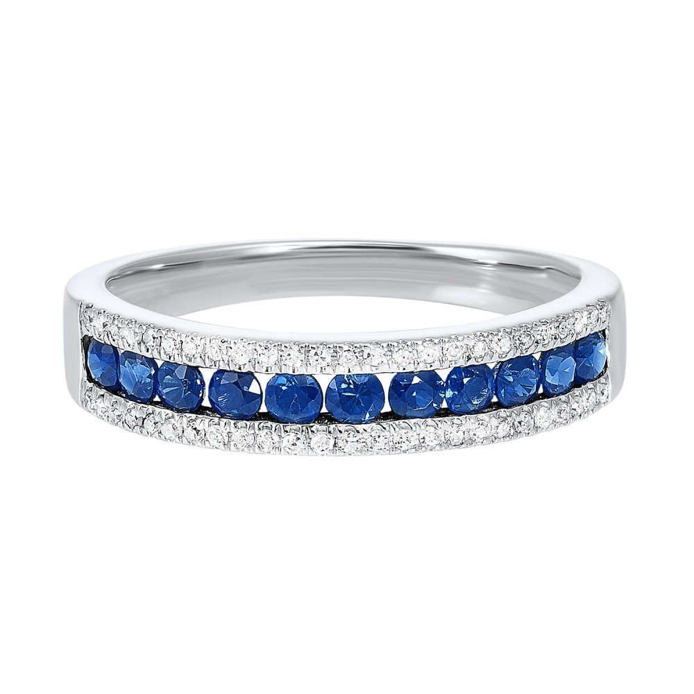 14K White Gold 3 Row Multi Channel Diamond & Sapphire Band (1/8 Ct. Tw.)
