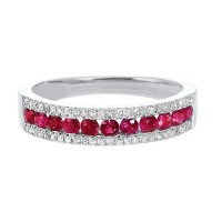 14K White Gold 3 Row Multi Channel Diamond & Ruby Band (1/8 Ct. Tw.)