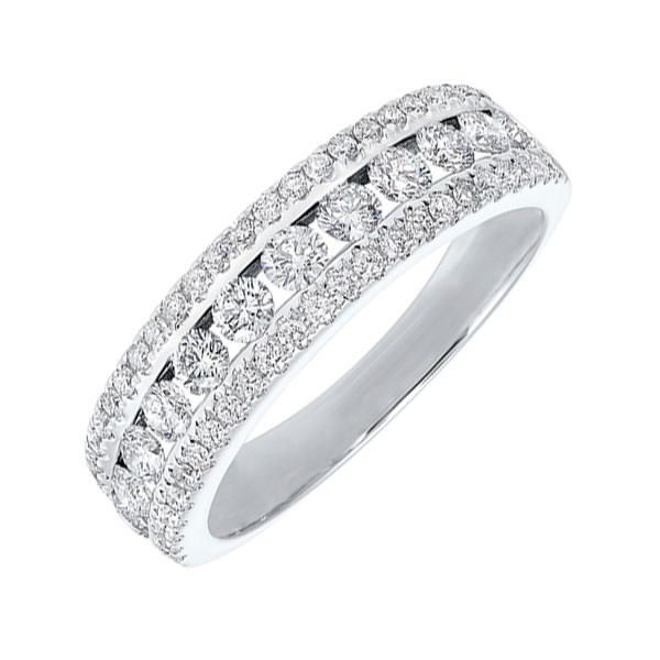 Triple Row Diamond Stackable Band In 14k White Gold (1ctw)