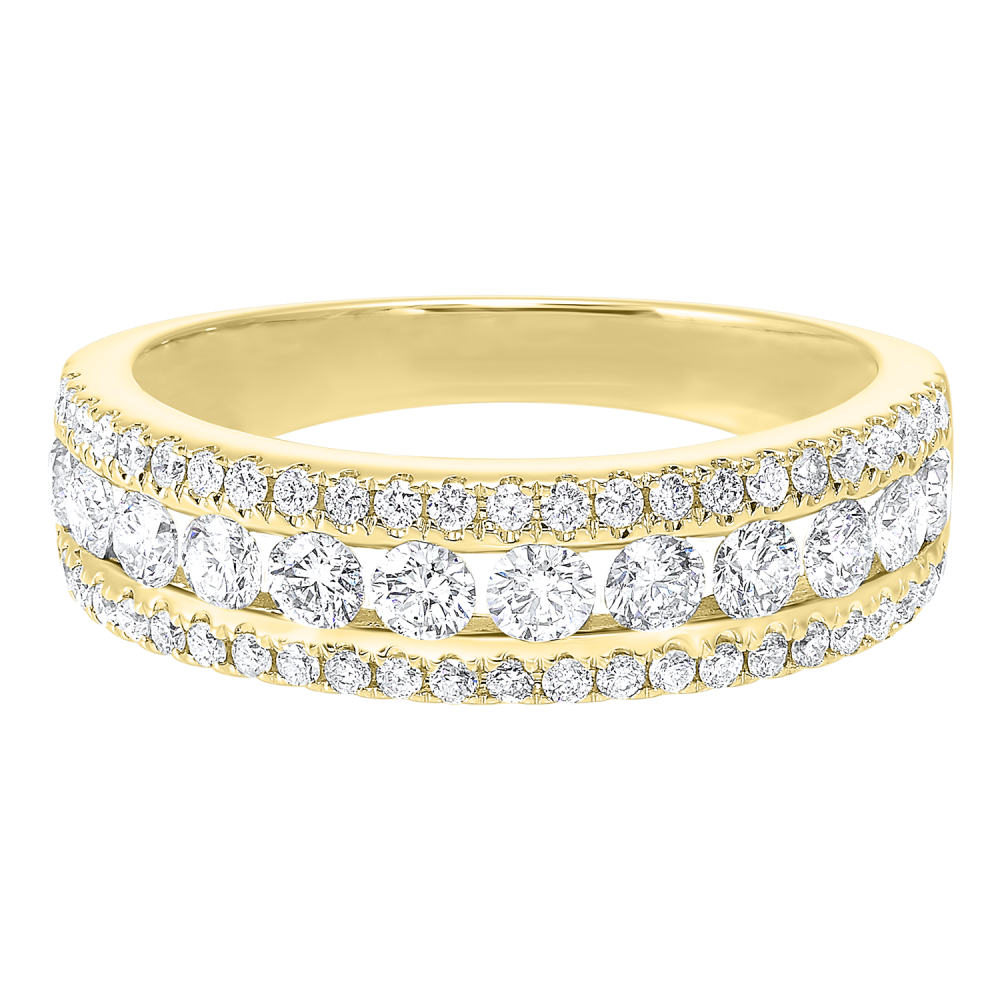 14K Yellow Gold 3 Row Multi Channel Diamond Band (1 1/2 Ct. Tw.)