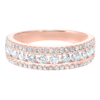14K Rose Gold 3 Row Multi Channel Diamond Band (1 1/2 Ct. Tw.)