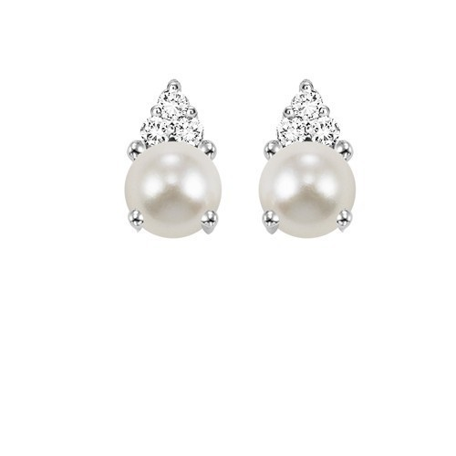 10K White Gold Color Ensembles Prong Pearl Earrings 1/25CT