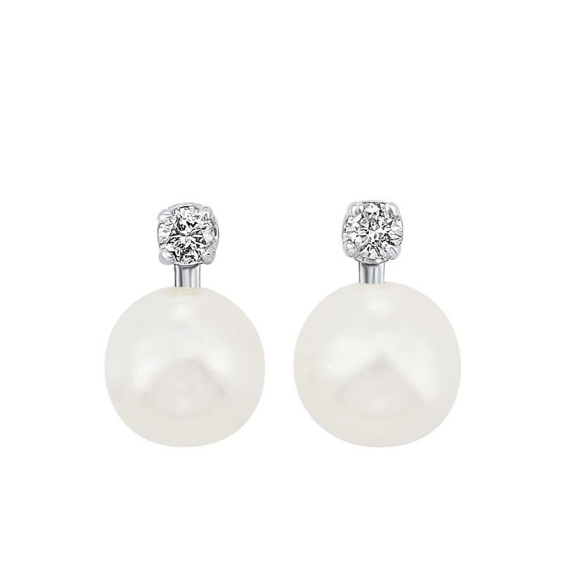 White Cultured Pearl & Diamond Stud Earrings In 14K White Gold (1/20 Ct. Tw.) (5.5MM) - AAA Quality
