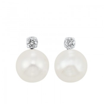 White Cultured Pearl & Diamond Stud Earrings In 14K White Gold (1/20 Ct. Tw.) (6MM) - AAA Quality
