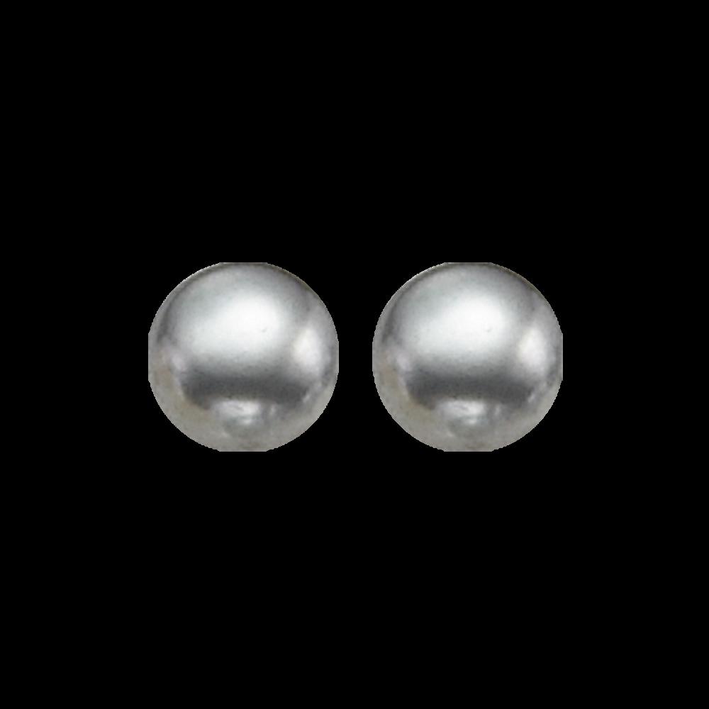 Grey Freshwater Pearl Stud Earrings In Sterling Silver (6MM)